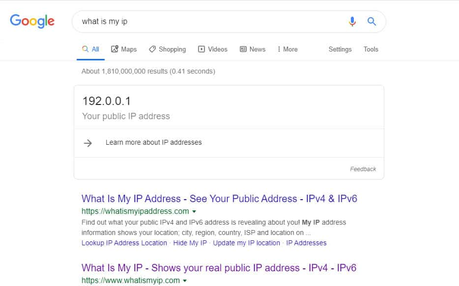 What is my IP - Google featured snippet
